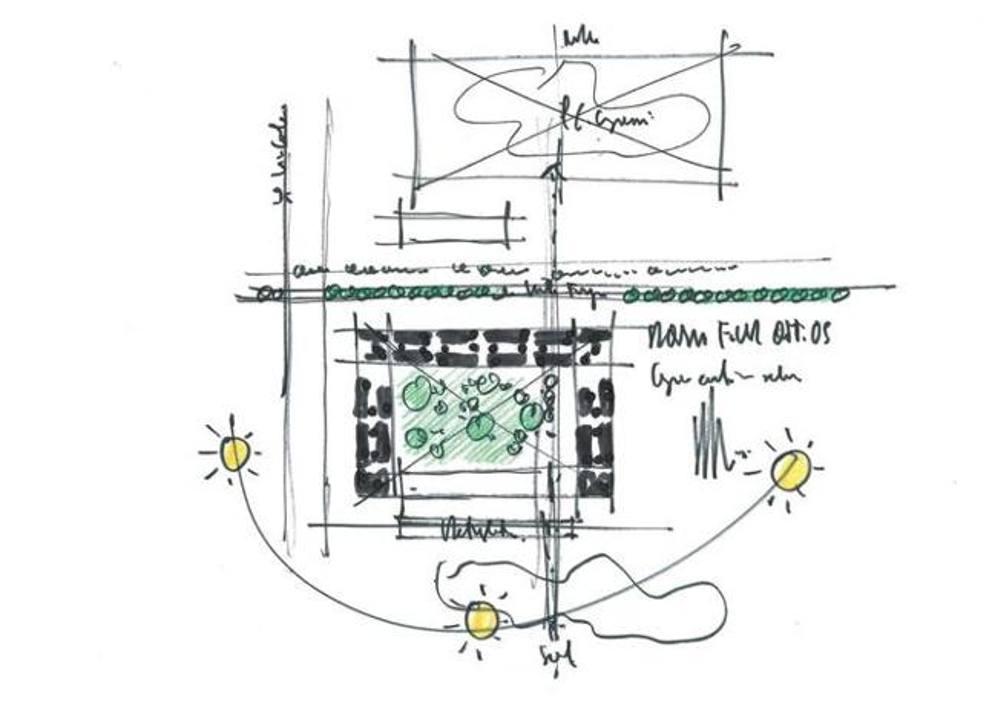Uno schizzo autografo di renzo piano per il progetto delle - Migliore esposizione casa ...