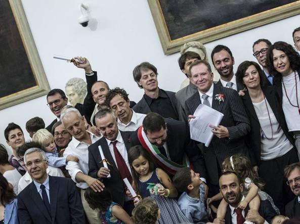 Campidoglio, 20 ottobre 2014, Ignazio Marino, sindaco di Roma, ha trascritto in Campidoglio il matrimonio che 16 coppie gay hanno contratto all'estero  (Jpeg)