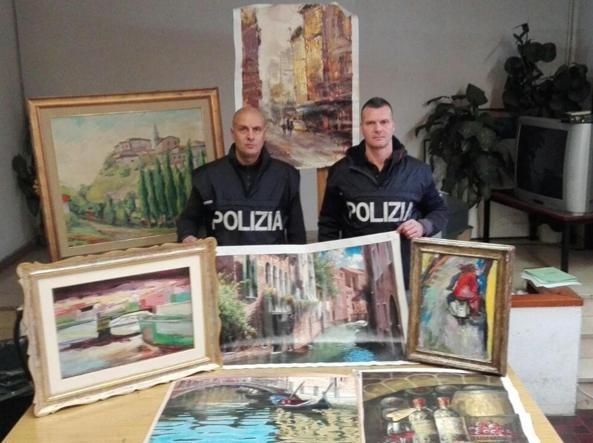 Alcune delle opere d'arte recuperate dalla polizia