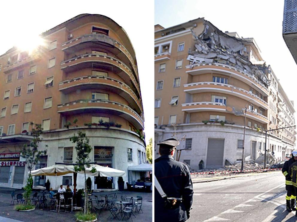 Crollo al flaminio tragedia sfiorata collassano tre for Piani di casa di palazzo