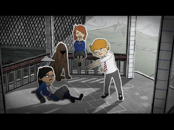 Immagini di un cartone animato contro il bullismo