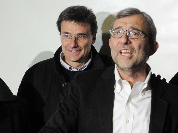 Giachetti e Morassut dopo l'annuncio della vittoria alle primarie  (LaPresse)