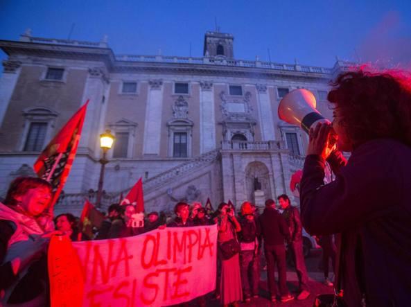La manifestazione in Campidoglio (Jpeg Fotoservizi)