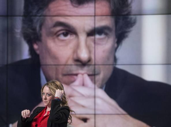 Giorgia Meloni durante la registrazione del programma tv «Porta a Porta» (Jpeg)