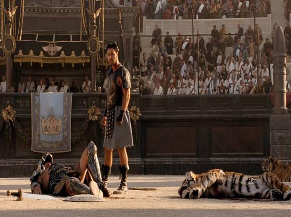 Russell Crowe in una scena del film «Il gladiatore»