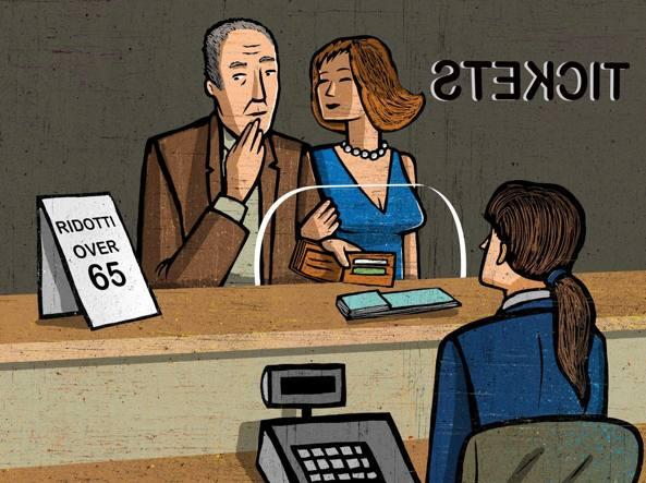 illustrazione in cui compaiono un uomo e una donna di fronte all'impiegata dell'anagrafe