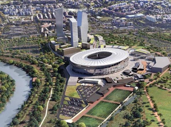 Il progetto del nuovo stadio della Roma a Tor di Valle (Ansa)