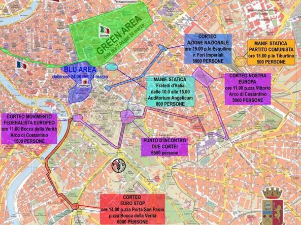 La mappa strategica di quello che accadrà sabato in centro