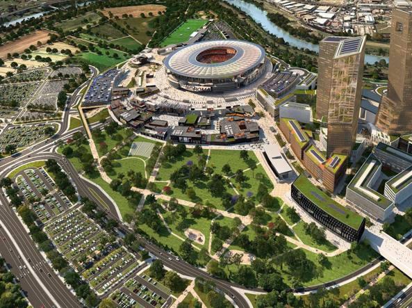 Il rendering del progetto dello stadio della Roma a Tor di Valle (Ansa)