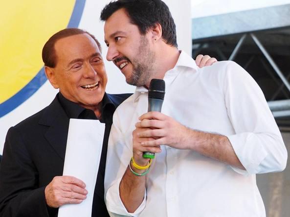 Berlusconi con Salvini (Ansa)