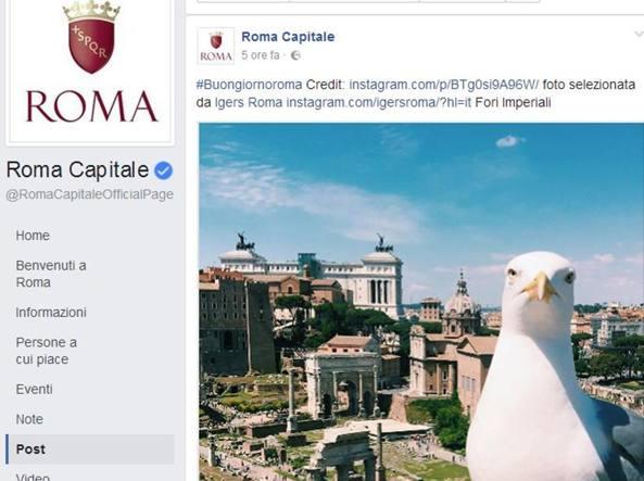 La pagina Facebook del Comune di Roma