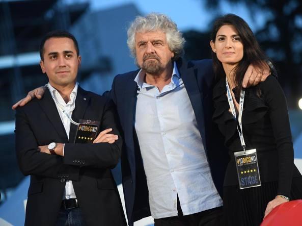 Luigi Di Maio, Beppe Grillo e Virginia Raggi (Ansa)
