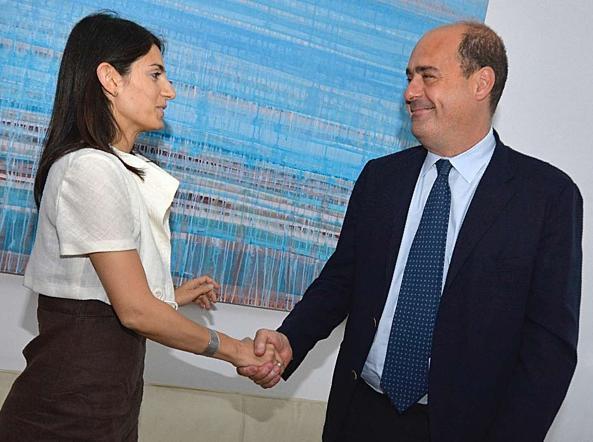 La sindaca di Roma Virginia Raggi e il presidente della Regione Lazio Nicola Zingaretti (Jpeg)