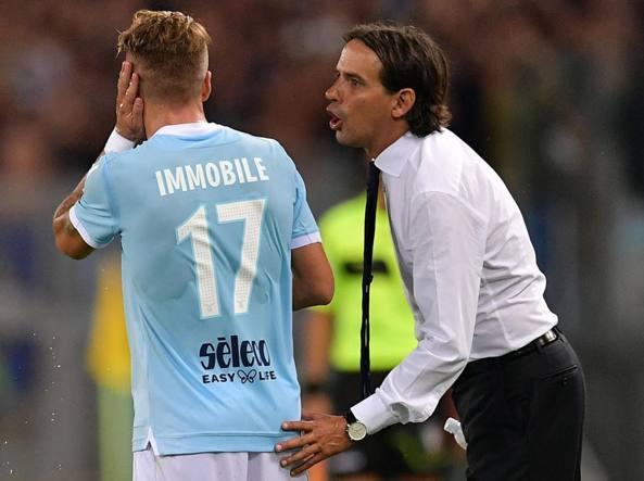 Il tecnico Inzaghi, a destra, con Ciro Immobile (LaPresse)