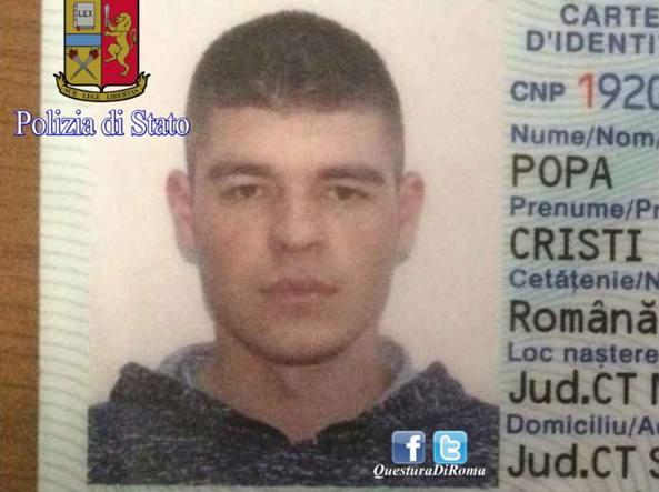 Cristi Popa, 25 anni, romeno, è sospettato di aver violentato la senzatetto tedesca a Villa Borghese (Proto)