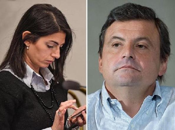 La sindaca di Roma Virginia Raggi e il ministro dello Sviluppo Economico Carlo Calenda