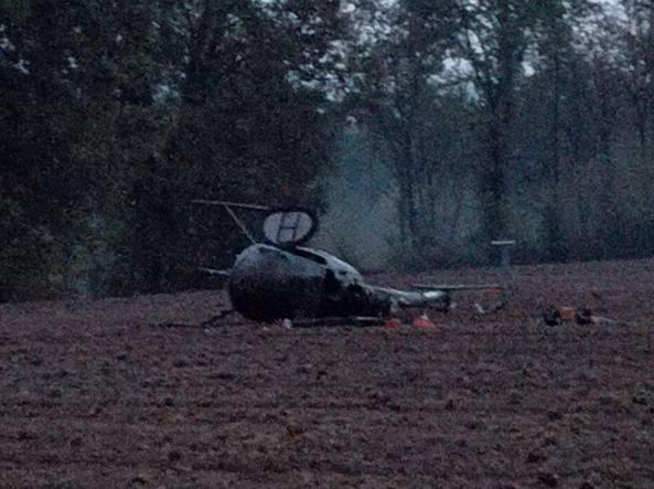 L'elicottero finito in un campo a Ripi (Frosinone)