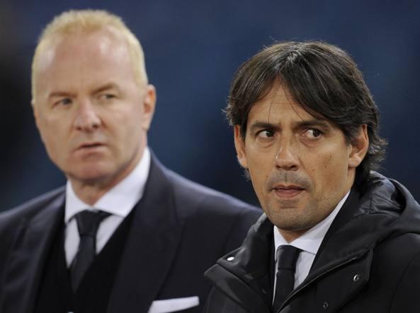 Simone Inzaghi, a destra, il d.s. della Lazio tare (Getty Images)