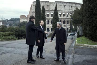 Roma, Macron visita la Domus Aurea con Gentiloni e Franceschini