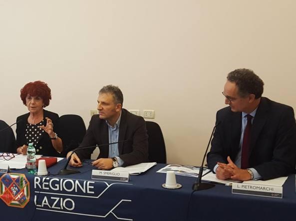 La ministra Fedeli e il vice presidente della Regione Smeriglio alla presentazione (Costantini)