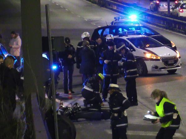 La scena dell'incidente di sabato pomeriggio sulla Tangenziale est (foto Proto)