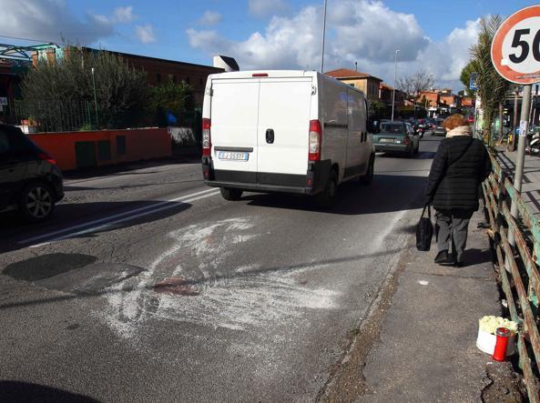 Il luogo dell'incidente sulla via Trionfale (foto Proto)